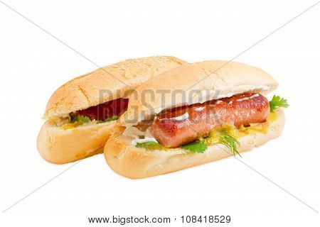Two Hot Dog On A Light Background