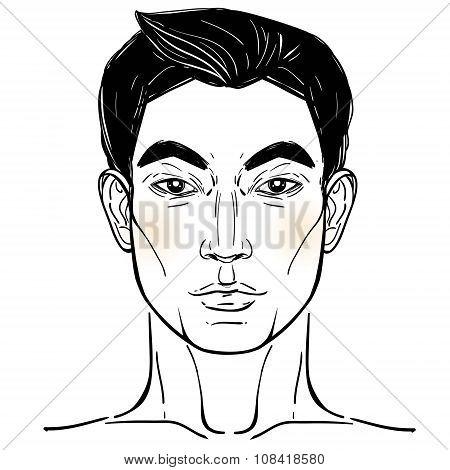 Asian descent mans head template.