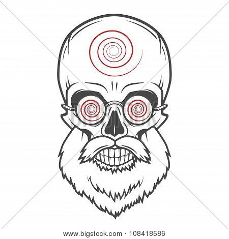Bearded skull with hypnotic glasses. Crazy steampunk magician portrait. Dead victorian old man vinta