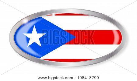 Puerto Rico Flag Oval Button