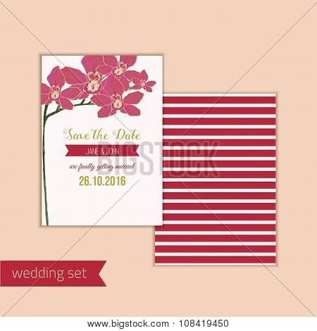 Wedding save the date card with red orchid flowers. Can be used for wedding, baby shower, mothers da