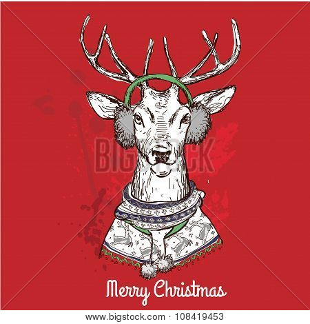 holiday vector of black ink hand drawn comic animal