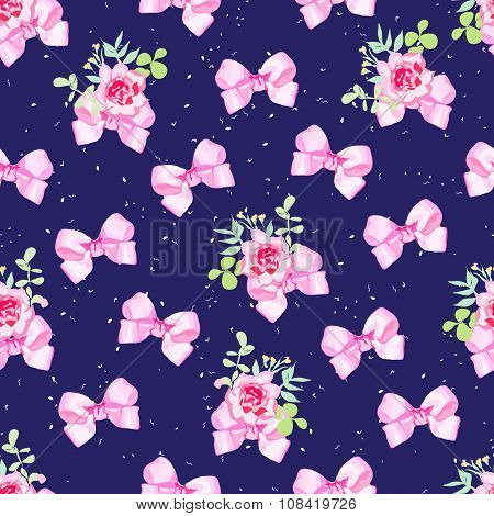 Navy Seamless Vector Background With Pink Bows, Rose Flowers And Snowflakes