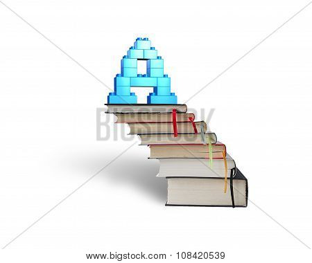 Alphabet Letter A Shape Blocks On Stack Books Stairs