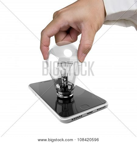 Human Hand Holding Light Bulb Inserted In Smart Phone