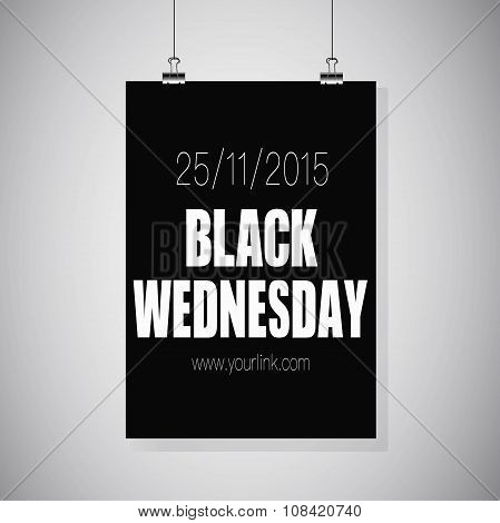 Black Friday Poster Hanging On The Wall. Black Wednesday