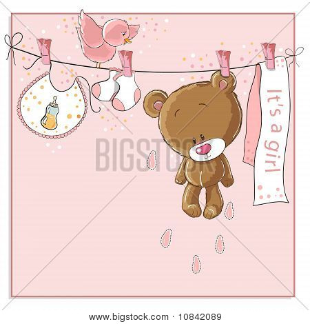 It's a girl - baby announcement card