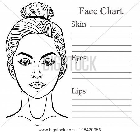 Female Face chart make up artist blank.