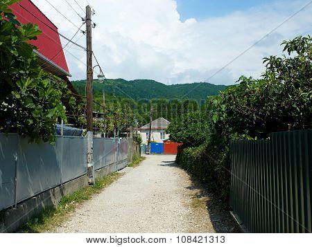 Small narrow alleyways in village