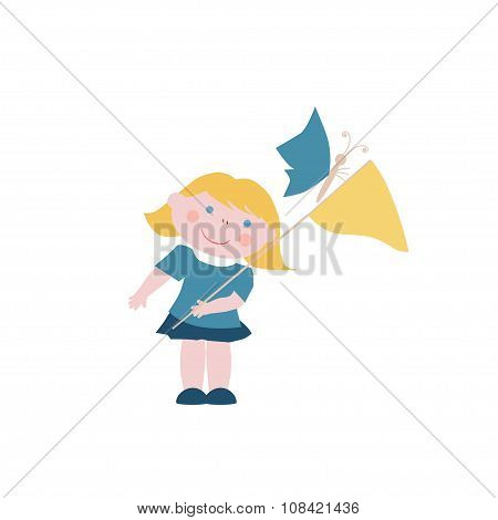 Little Girl With Butterflies