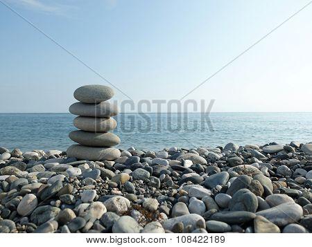Black sea and pebbles
