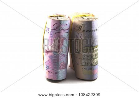 Stacks of money on white background