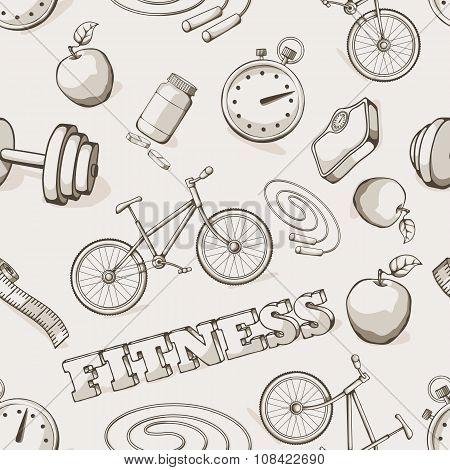 Fitness seamless vintage pattern.