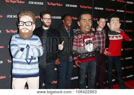 NEW YORK-NOV 16: (L-R) Actors Seth Rogen, Anthony Mackie and Joseph Gordon-Levitt attend the screening of