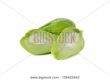 Whole And Half Cut Fresh Chayote On White Background