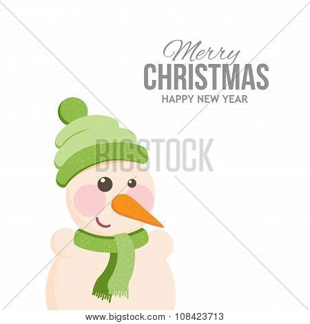 Funny snowman on holiday cards