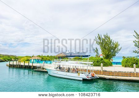 Docked Boat At Half Moon Cay In The Bahamas.