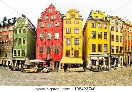 Stockholm, Sweden - July 06, 2015:  Stortorget Place In Gamla Stan, Stockholm, Sweden.  Old Town.
