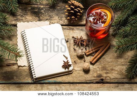 Christmas Decorative Background With Traditional Hot Drink.