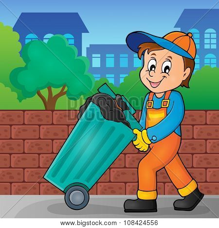 Garbage collector theme image 2 - eps10 vector illustration.