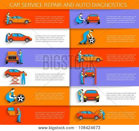 Set of auto mechanic car service repair and maintenance work icons . Horizontal banners with place f