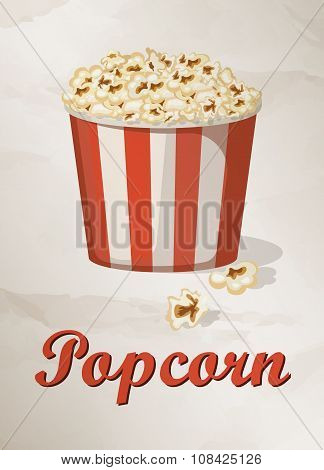 Grunge Cover for Fast Food Menu - Popcorn on vintage background.