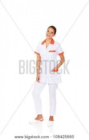 Young smile female doctor or nurse.