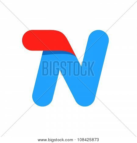 N Letter With Fast Speed Line.