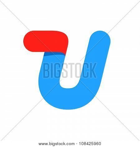 U Letter With Fast Speed Line.
