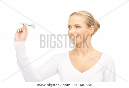 Businesswoman Throwing A Dart