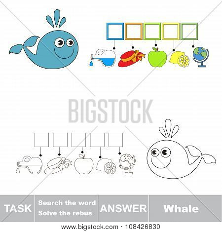 Vector game. Find hidden word Whale. Search the word.