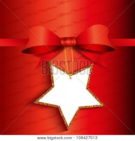 Christmas gift background with star shaped glittery label