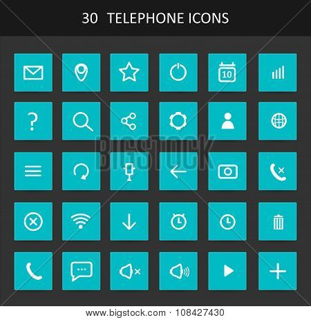 Set Of Flat Design Telephone Buttons And Icons