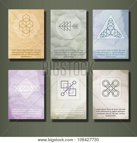 Set of Vintage Labels, Logo, Frames, Brochures.