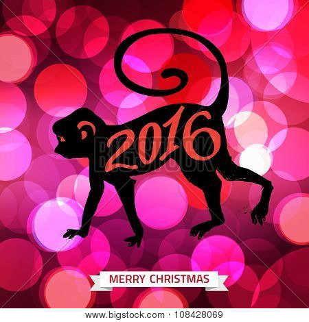 2016 Merry Christmas typographical shining background