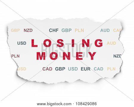Banking concept: Losing Money on Torn Paper background