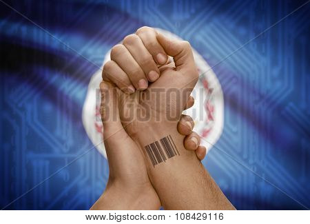 Barcode Id Number On Wrist Of Dark Skinned Person And Usa States Flags On Background - Virginia