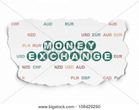 Banking concept: Money Exchange on Torn Paper background