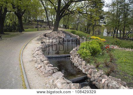 Small artificial waterfalls at Bastion Hill park in Riga, Latvia