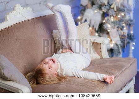 Happy Girl Near Christmas Tree.