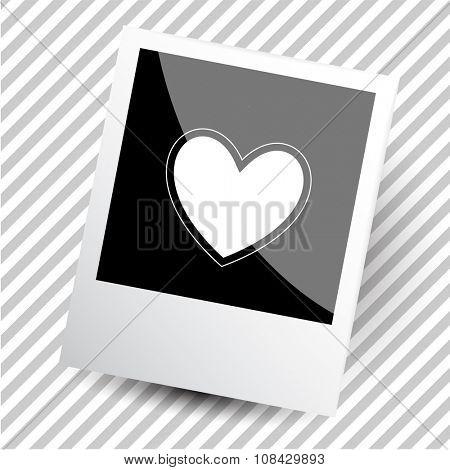 heart. Photoframe. Raster icon.
