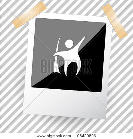 abstract little man. Photoframe. Raster icon.
