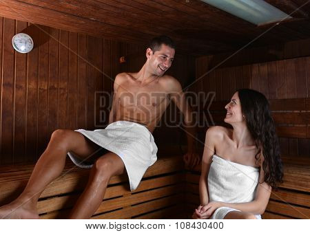 Couple In Love Enjoying The Sauna