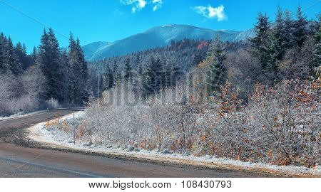 Mountain Road During Winter Time