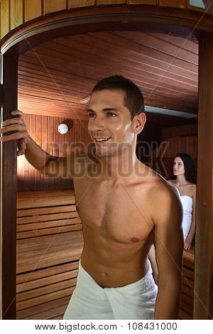 Guy Coming Out Of A Session Of Sauna