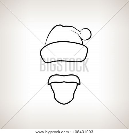 Santa Claus Face On A Light  Background