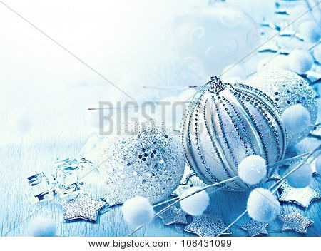 Christmas. Christmas and New Year Bauble and Decoration border design. Holiday Composition. Blue Colour