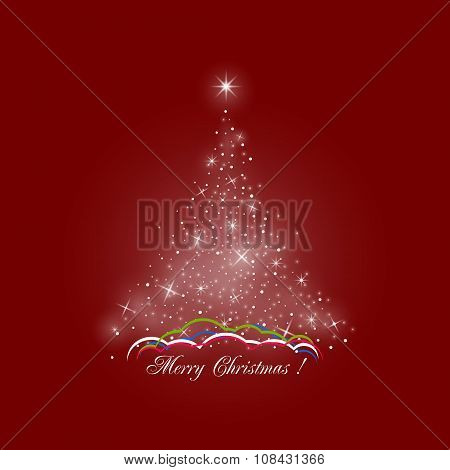 Christmas Tree Of Lights On Red Background