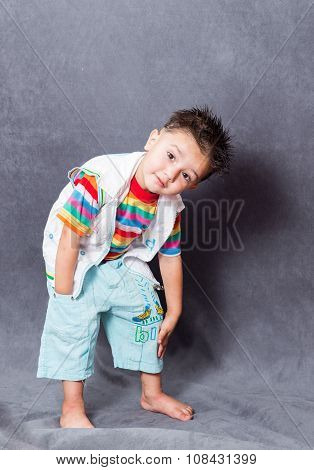 happy mood. boy fashion portrait. Child model.