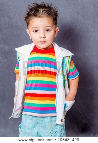 surprised expiration. boy fashion portrait. Child model.